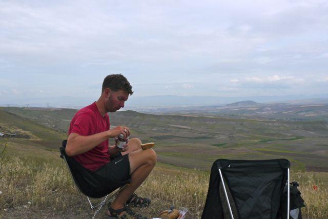 Picknick plekje op een heel hoog punt
