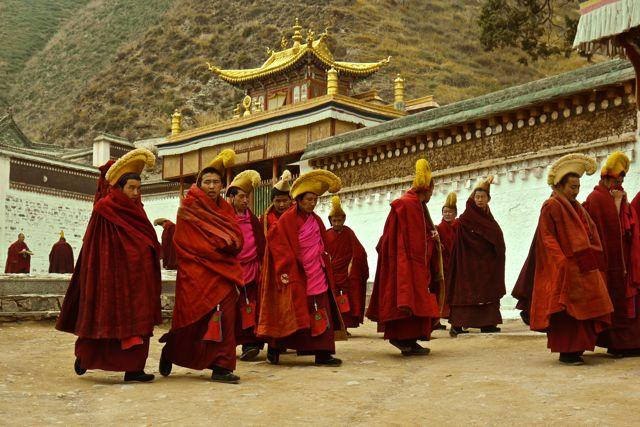 De monniken zijn lid van de orde van de Gele Hoed